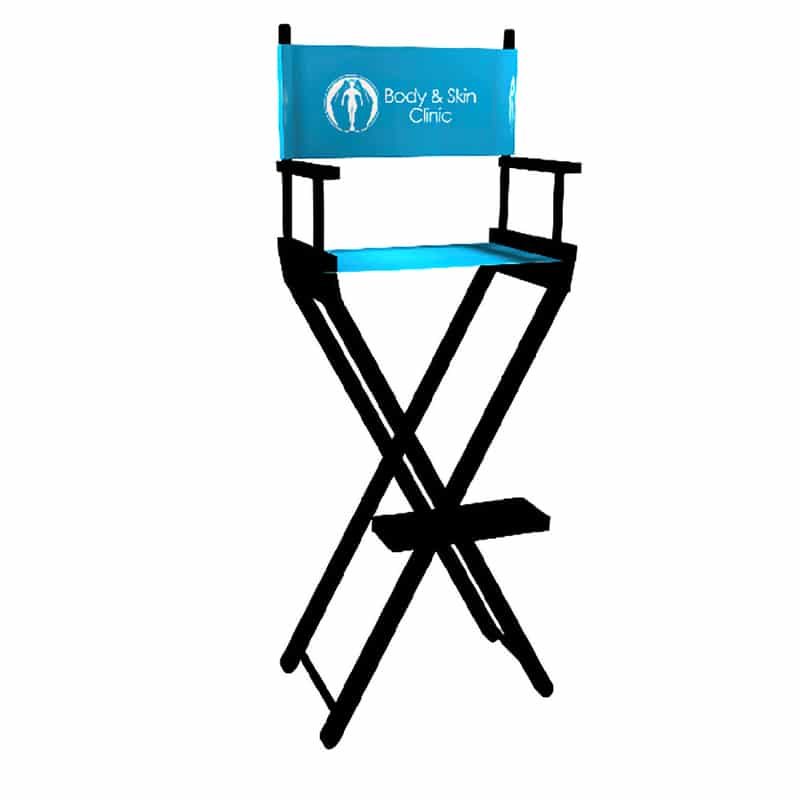 tall director's chair black frame with bright blue fabric seat and back