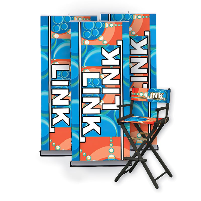 tall director's chair black frame with colorful fabric to march banner stand displays behind