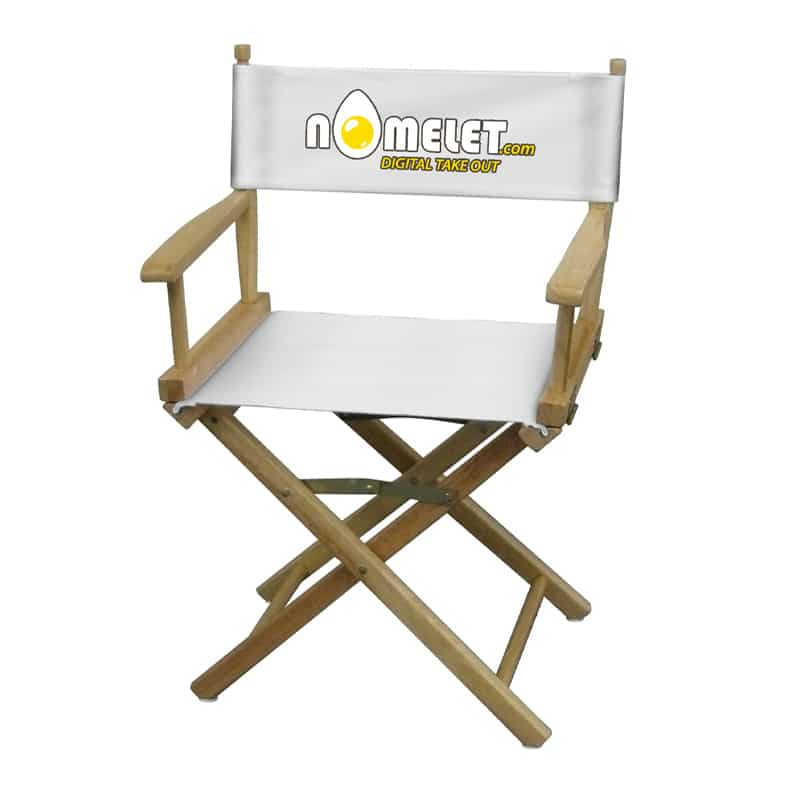 short director chair white with logo print front