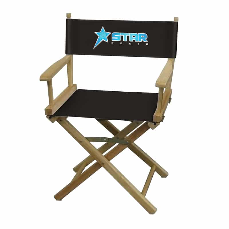 short director chair black with logo print front