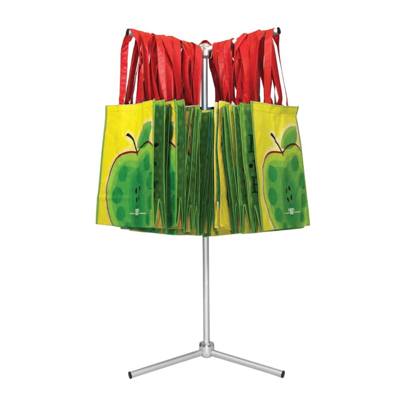 oasis bag stand for tradeshows and mobile retail shown with merchandise bags