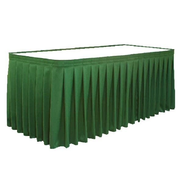 unprinted pleated table skirt cover in green