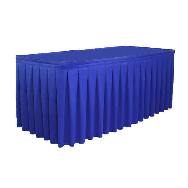 unprinted pleated table skirt cover in blue