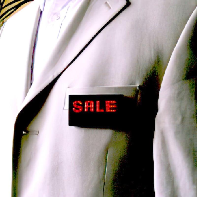 example photo of LED name badge on jacket front