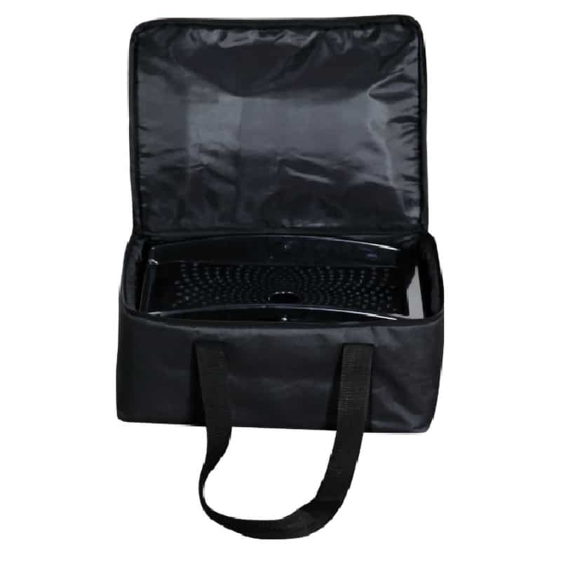 quantum portable literature stand inside open black carry bag