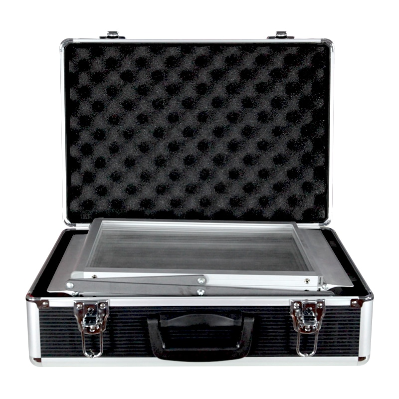 zedup literature stand hard case, black and silver with stand folded inside