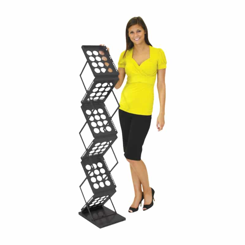 6 Pocket literature stand-black with model for scale