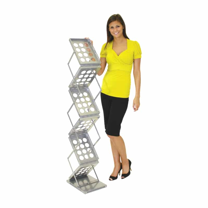 6 Pocket literature stand-silver with model for scale