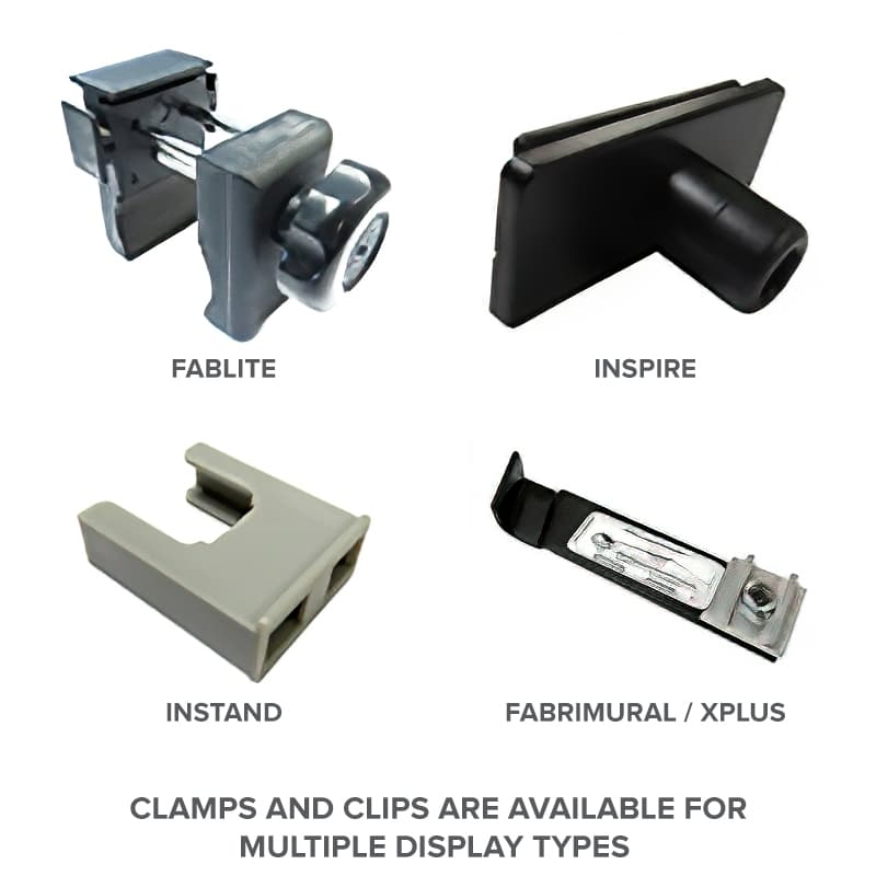clamps types for nomadic display lighting kit