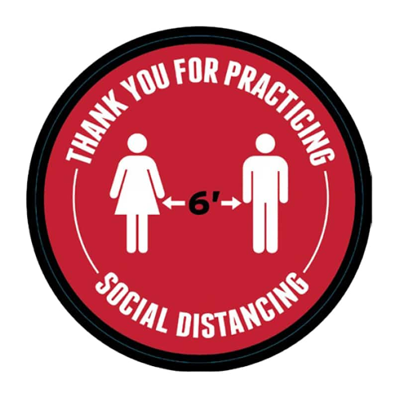 "round social distance floor decal, ""stand 6 feet apart"""