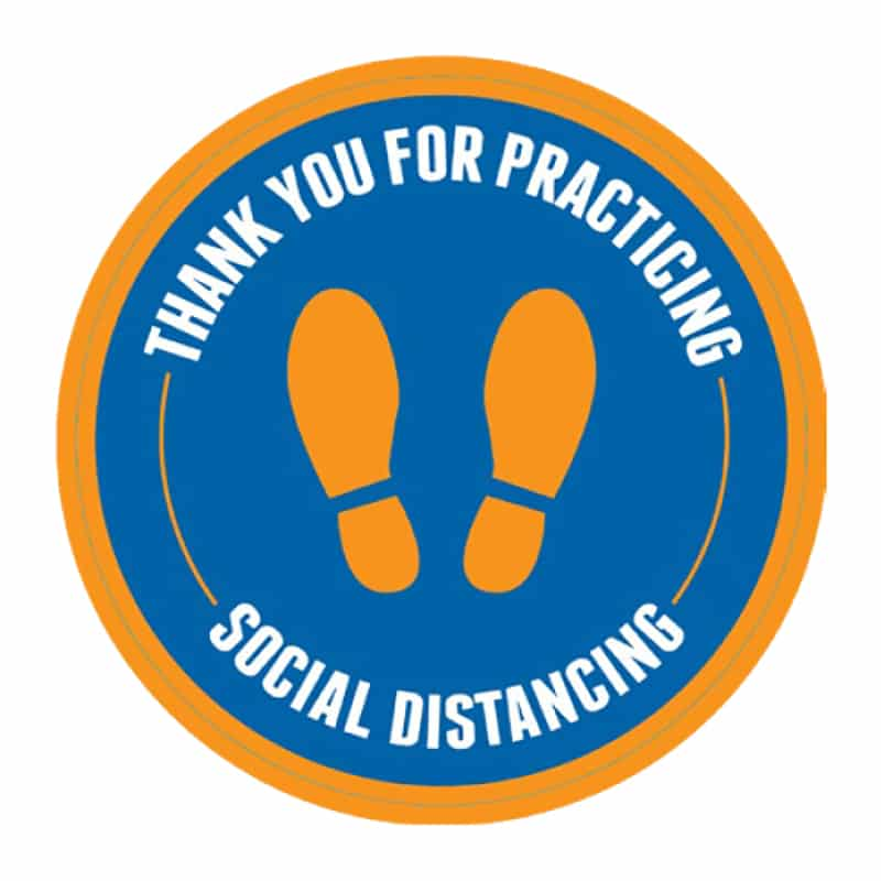 Social Distancing Stickers-orange and blue