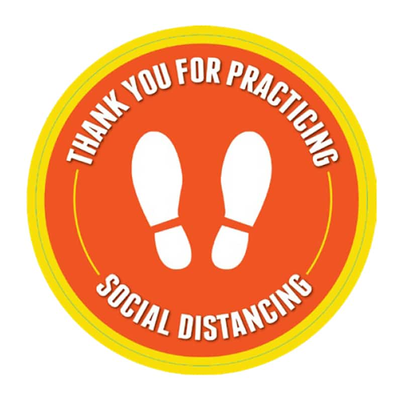 round social distance floor decals, yellow and orange
