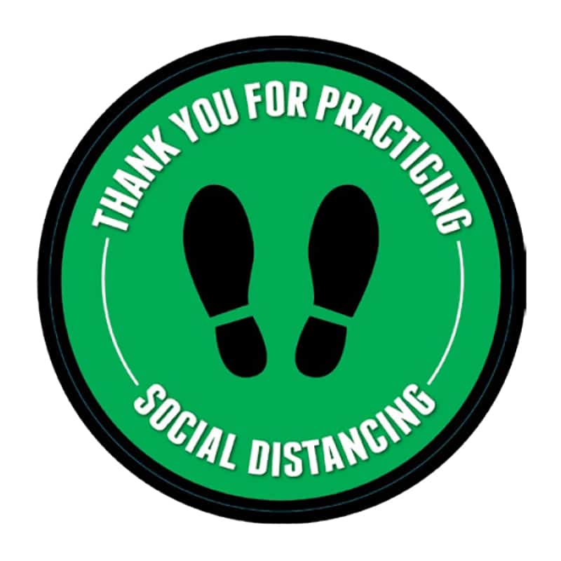 round social distance floor decals, green and black