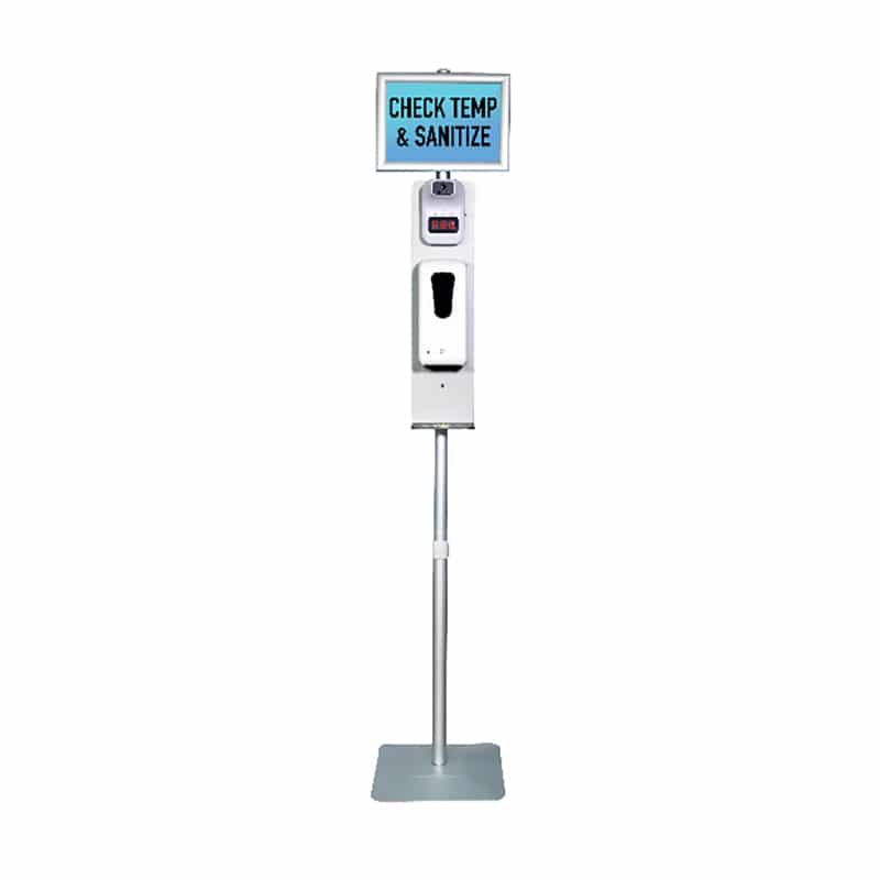 temperature check and sanitizer sign stand, front view