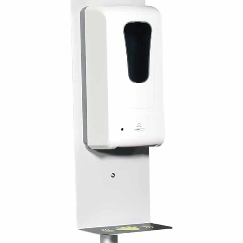 temperature check and sanitizer sign stand, sanitizer dispenser close-up