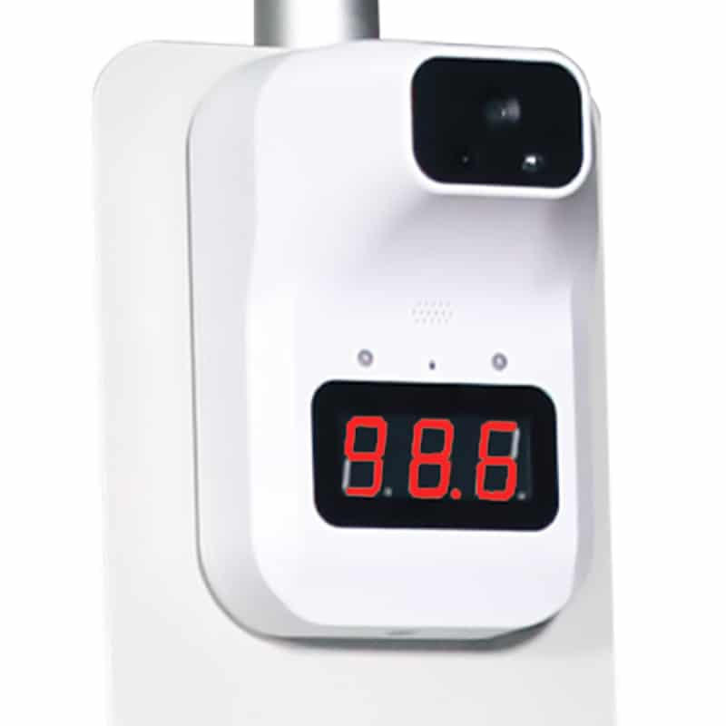 temperature check and sanitizer sign stand, thermometer scanner clsoe-up