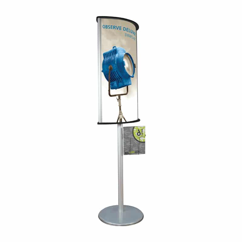 Portable Info Sign with literature rack-side view