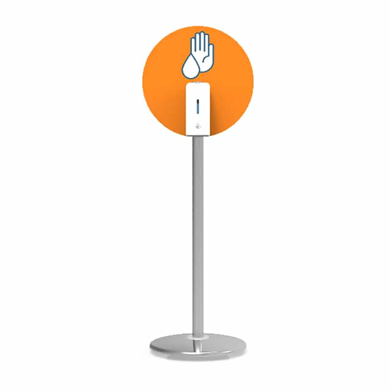 post sanitizer stand with round graphic, white background