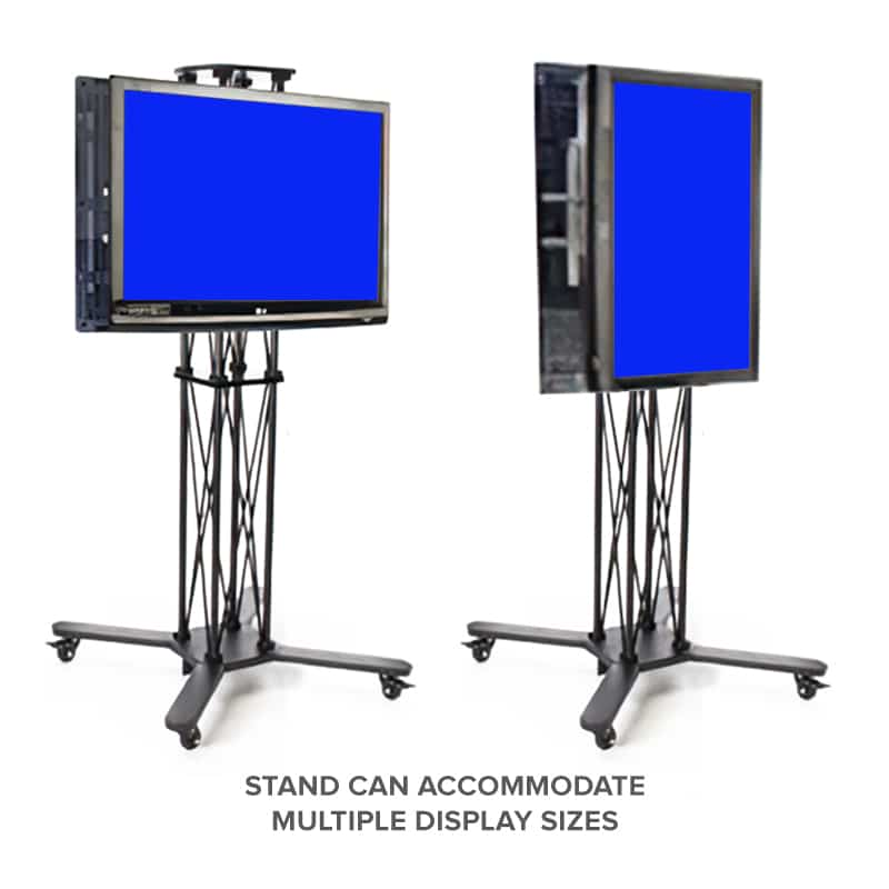 portable double-sided monitor stand showing different monitor sizes mounted