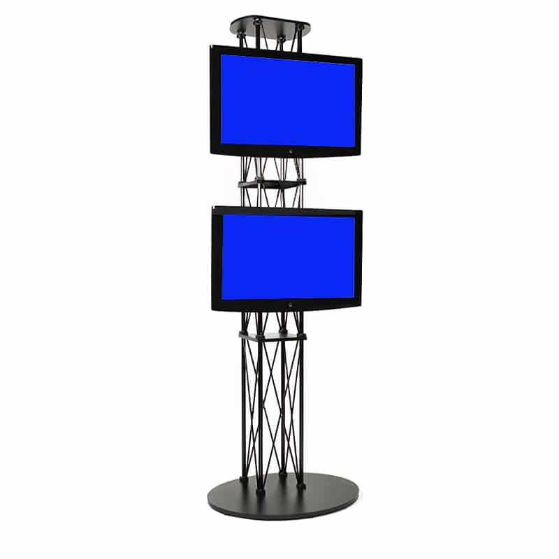 large dual monitor media stand with monitors mounted