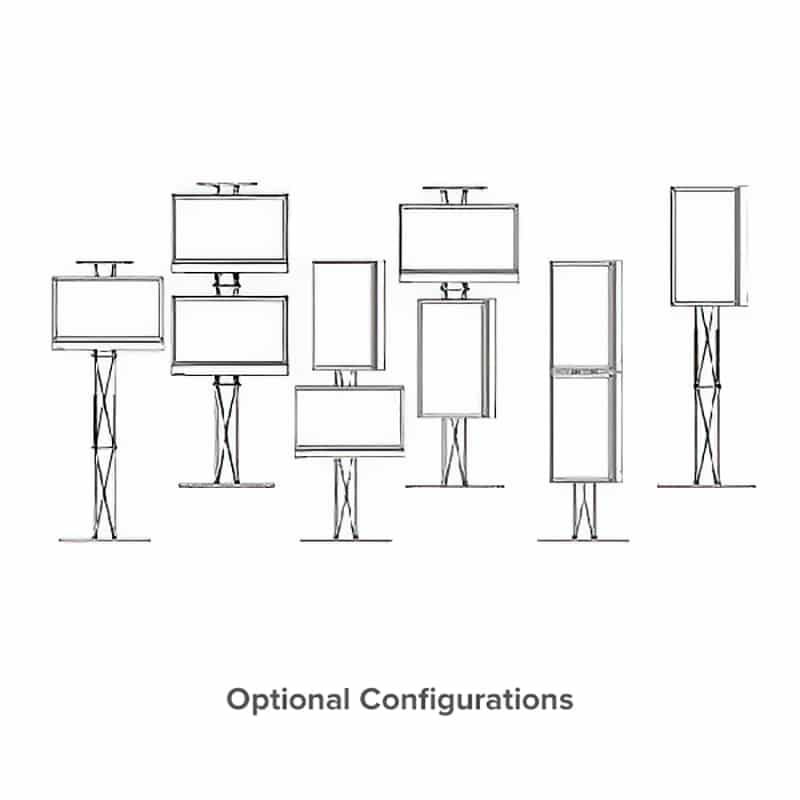 line drawing showing various monitor configurations for large dual monitor media stand