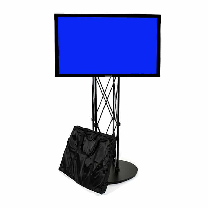 ez fold portable media stand with monitor mounted