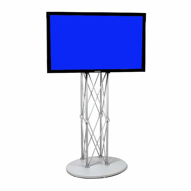 ez fold portable media stand showing silver hardware