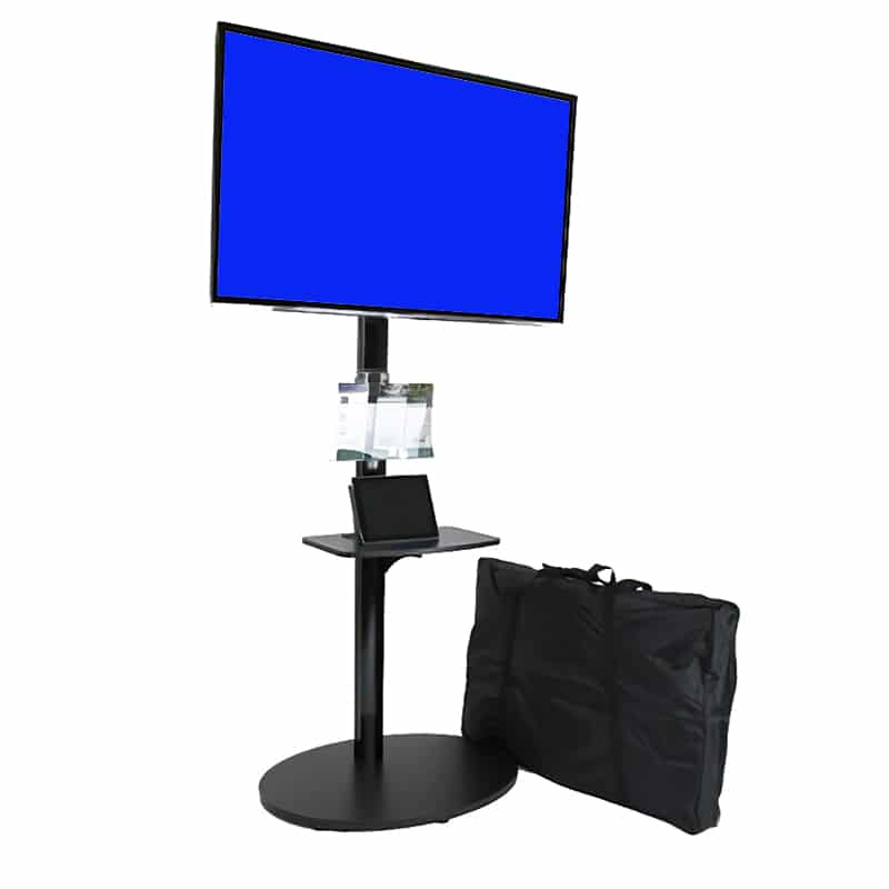 portable floor stand for monitors, black with monitor and carry bag