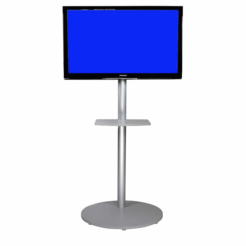 portable floor stand for monitors, silver with monitor