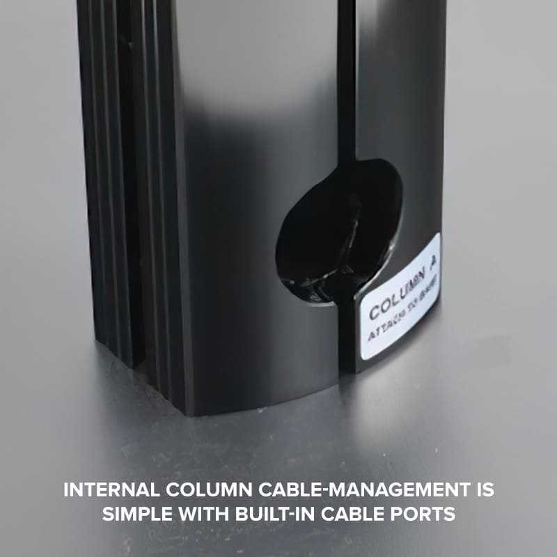cable management channel in frame of portable floor media stand