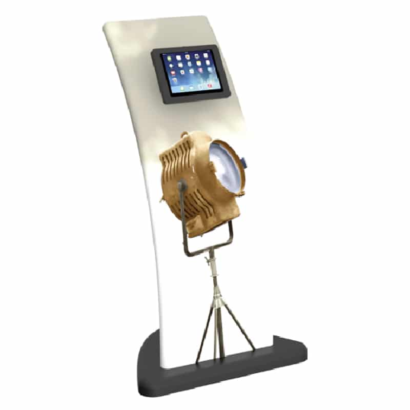 sleek fabric iPad media stand, front left view