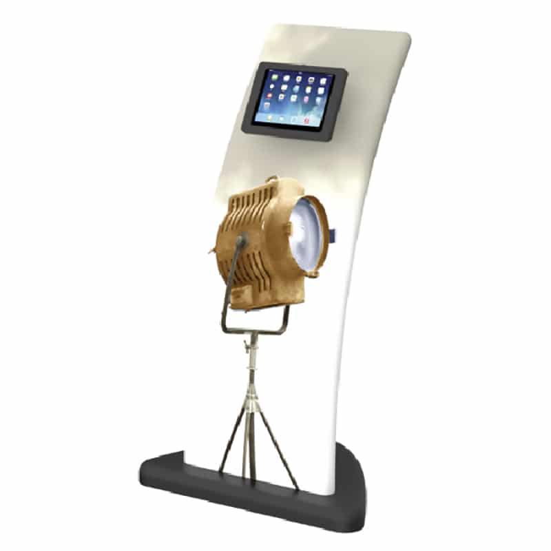 sleek fabric iPad media stand, front right view