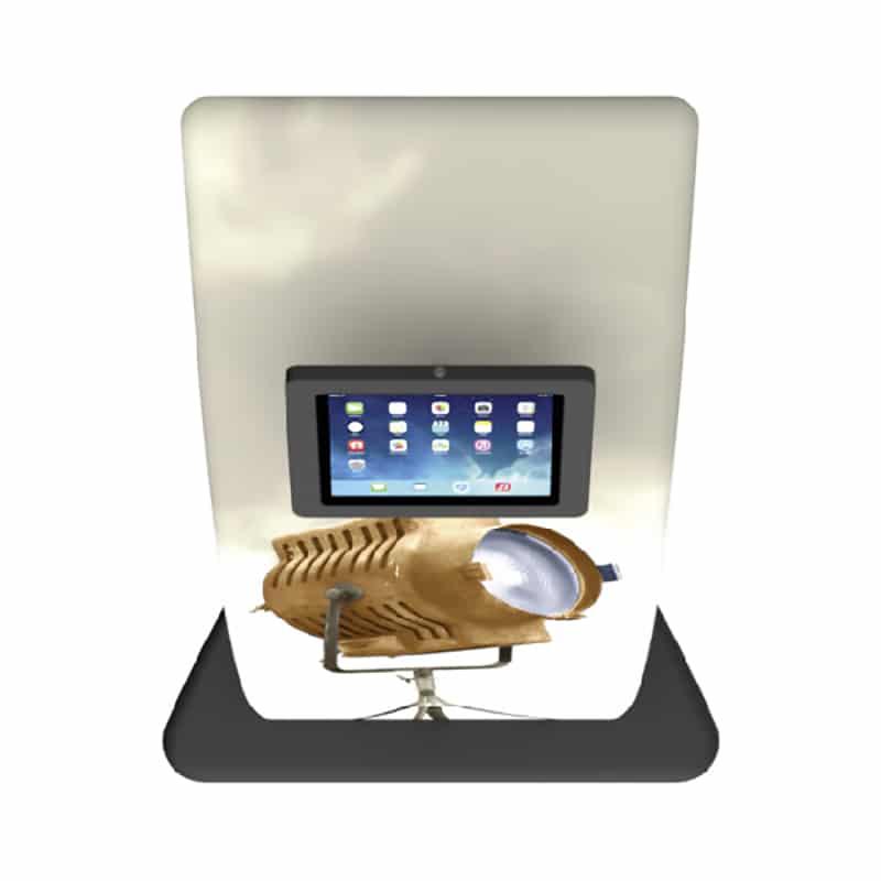 sleek fabric iPad media stand, top-down view