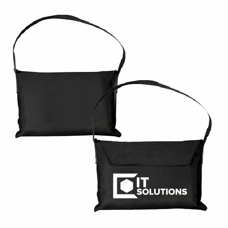 black fabric carry bag for table cover with white logo imprint