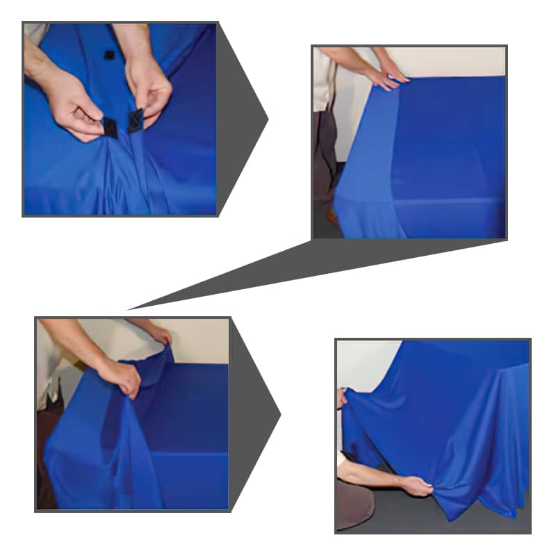 Convert-a-Throw table cover tabs to convert a table throw from 8 foot to 6 foot as needed