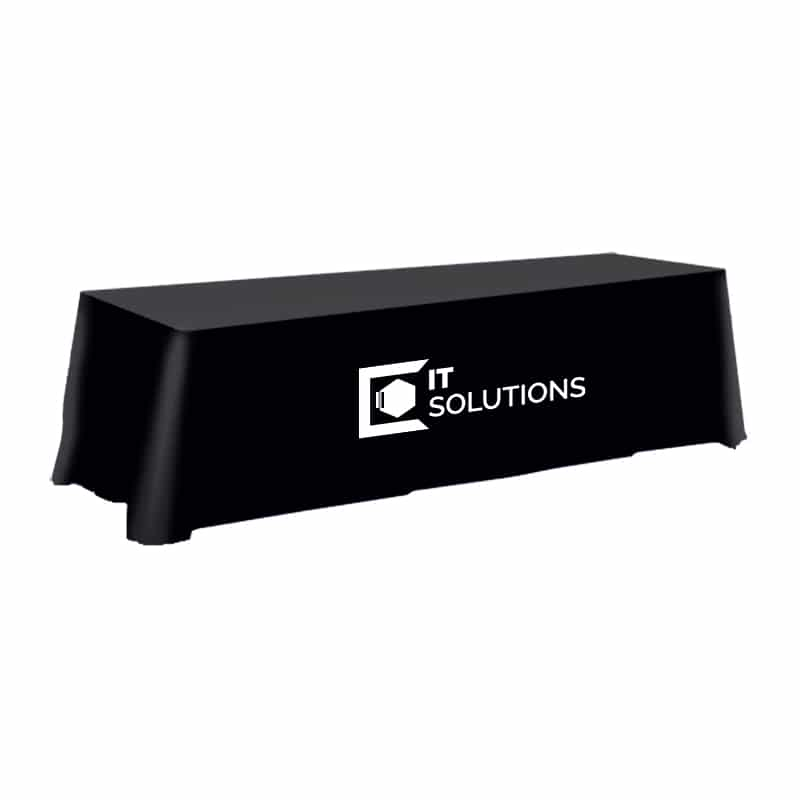 stcok fabric table cover with single color vinyl imprint, black fabric with white logo