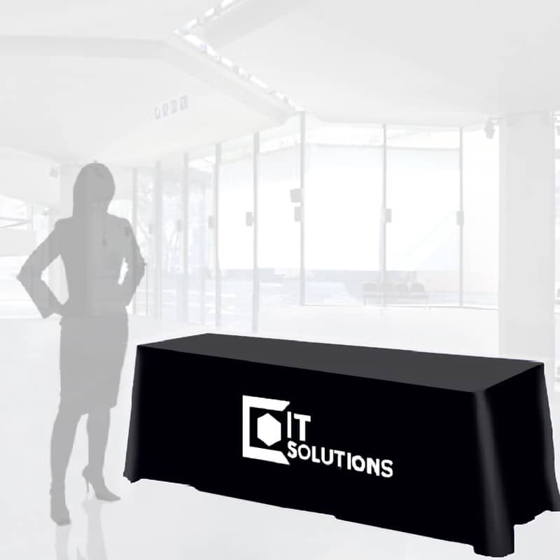 black fabric table cover with single color vinyl imprint and woman silhouette