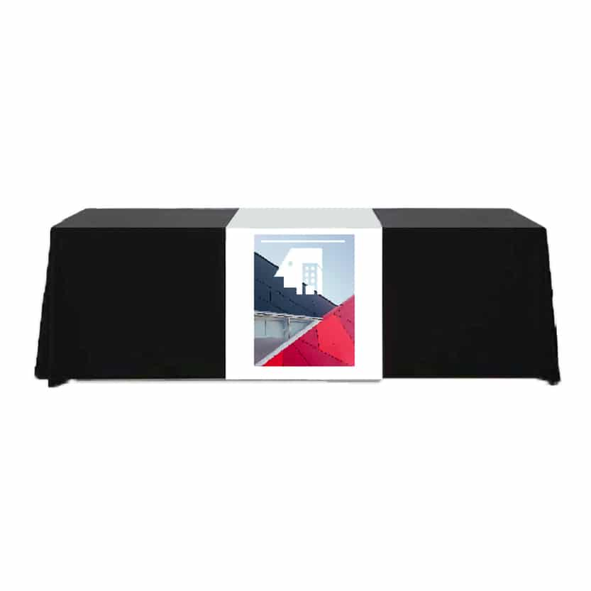 fabric table runner draped over table front to back with full-color logo