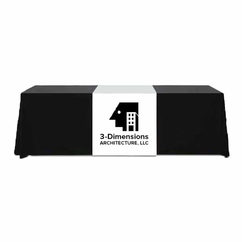 stock fabric table runner draped over table front to back with one-color imprint logo