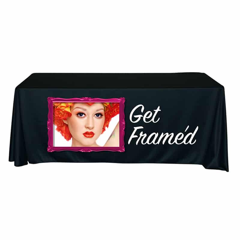 full color vinyl imprint table throw, black with framed woman's face