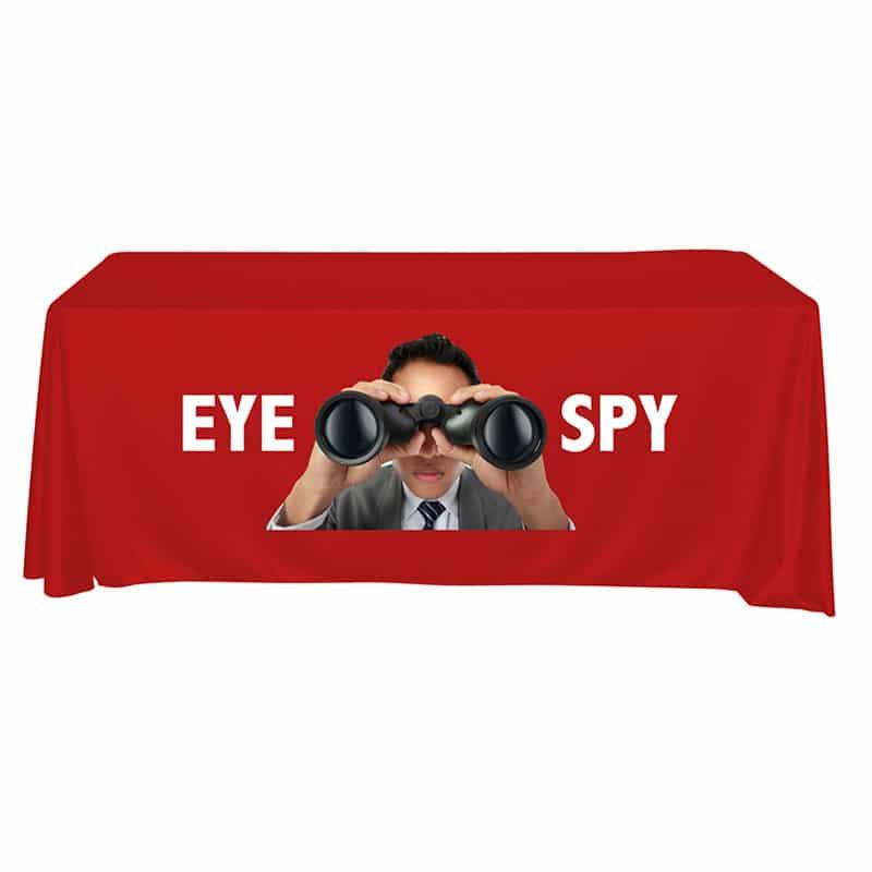 "full color vinyl imprint table red, man with binoculars, ""eye spy"""