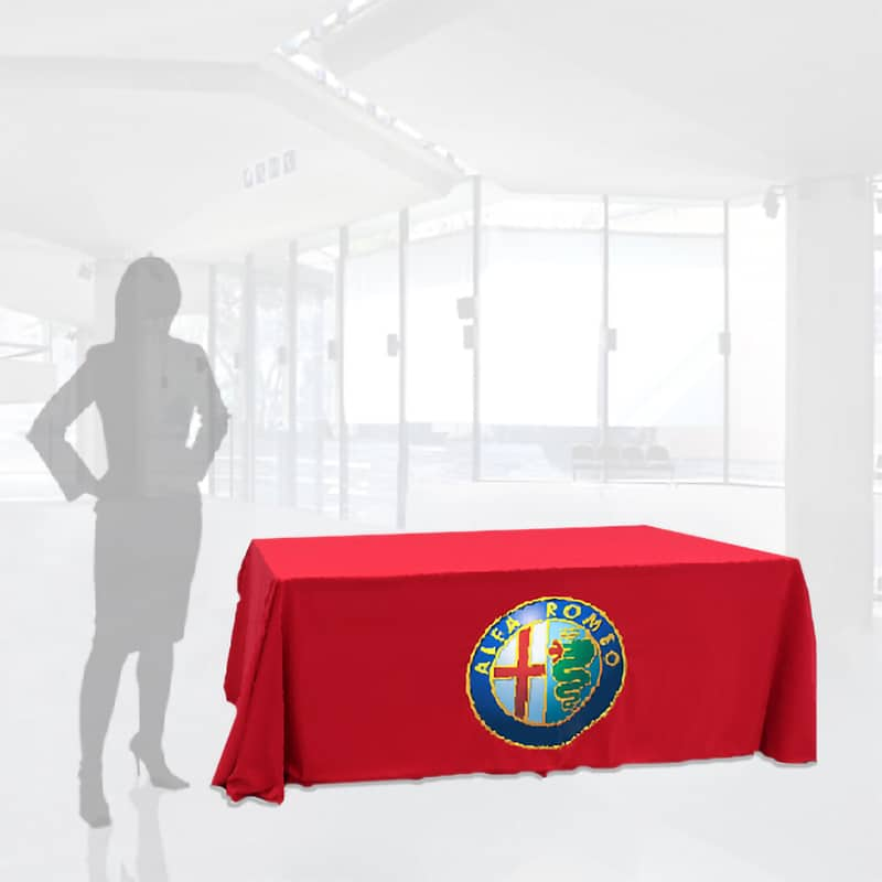 full color vinyl imprint table throw, red with alpha romeo car logo