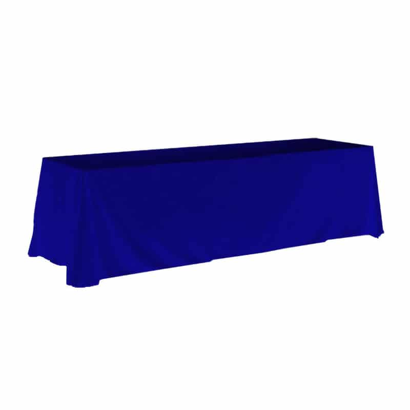 8 foot unprinted table throw cover in blue fabric