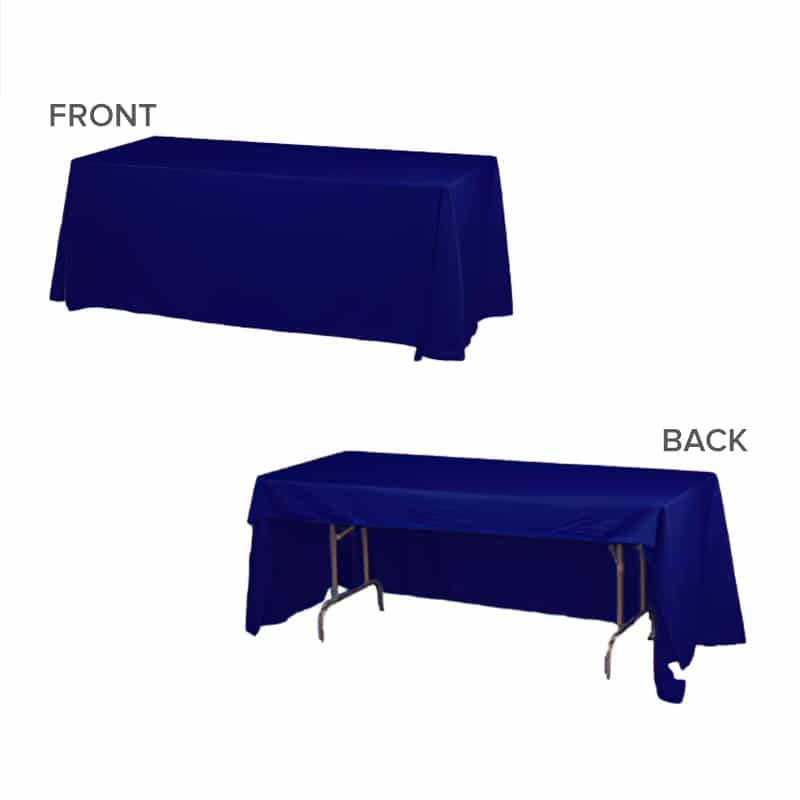 front and back photo showing unprinted blue throw on a table