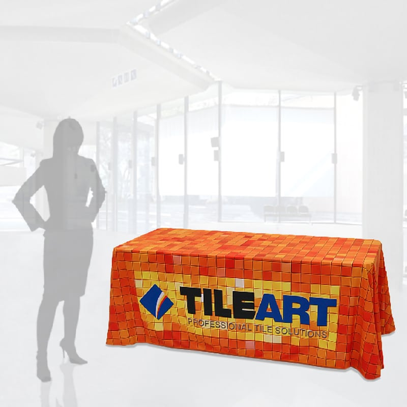 8 foot dye sublimation fully printed table cover shown with woman silhouette for scale