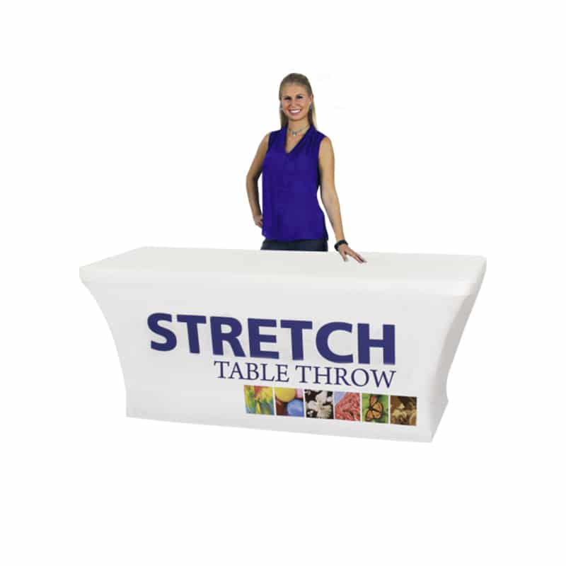 white stretch table cover with full color printing on front, 6 foot size with model standing