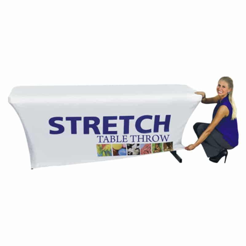 model showing how to fit white stretch table cover with full color printing on front
