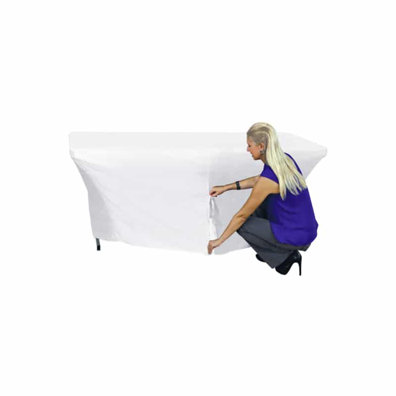 model showing zipper up the back of a white stretch table cover