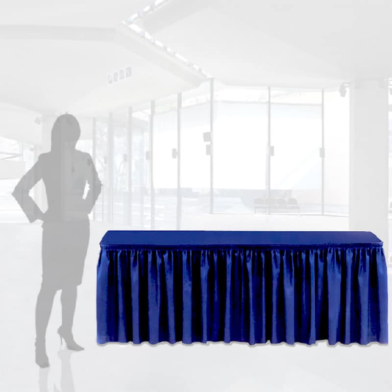 unprinted pleated table skirt cover in blue shown with woman silhouette for scale