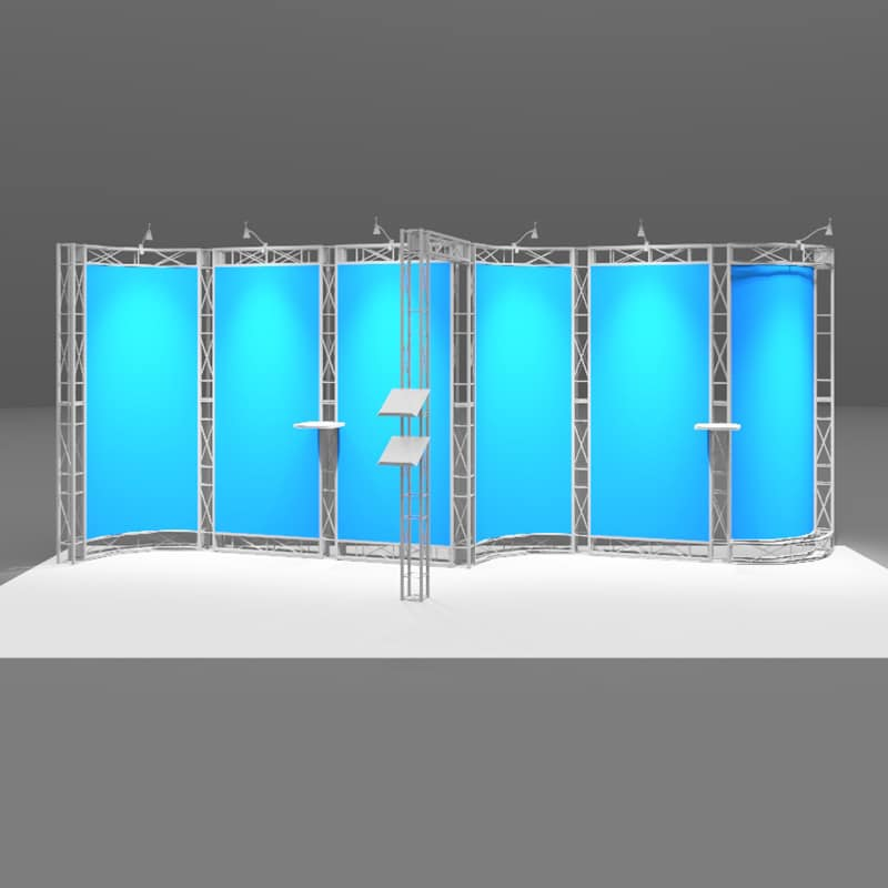 20 x 8 High Tech Display with curve appeal, isometric front
